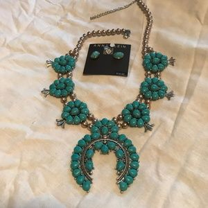 Anne Klein Turquoise necklace and earrings set!